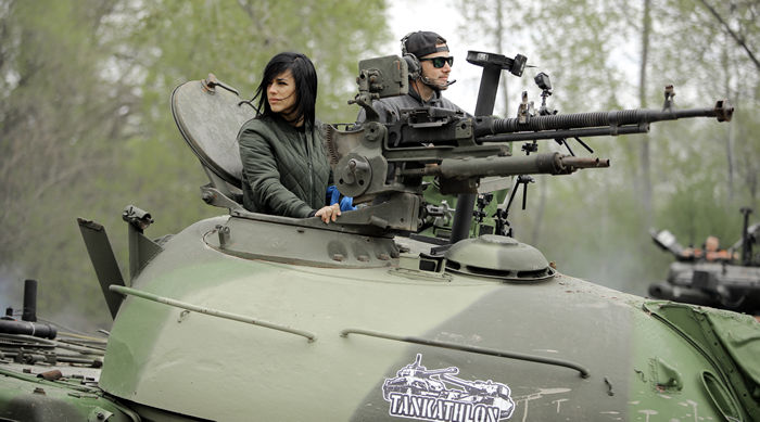 Influencers Zedra and Demolition Ranch compete in a Tankathlon in Minnesota, sponsored by Wargaming's World of Tanks.
