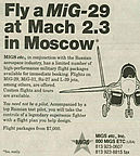 Fly a MiG-29 at Mach 2.3 Over Moscow, MigsEtc ad in the Wall Street Journal from 1993.