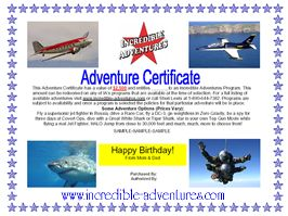 Sample of Incredible Adventures Gift Certificates