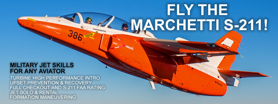Fly a fighter jet and learn military jet Skills in the Marchetti S-211.