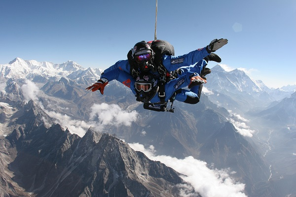 Tandem skydiving over Mt Everest